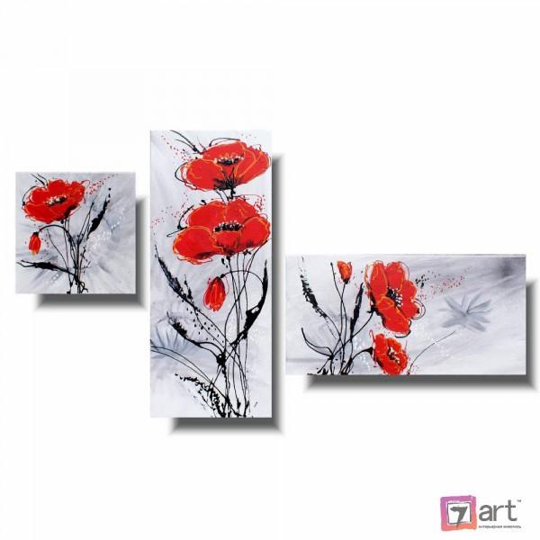 Модульные картины цветы, триптих, ART: fosm_0158