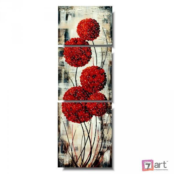 Модульные картины цветы, триптих, ART: fosm_0159