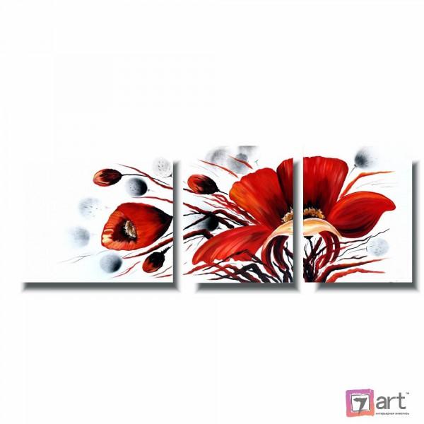 Модульные картины цветы, триптих, ART: fosm_0163
