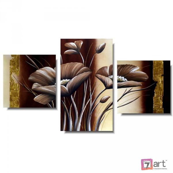 Модульные картины цветы, триптих, ART: fosm_0166