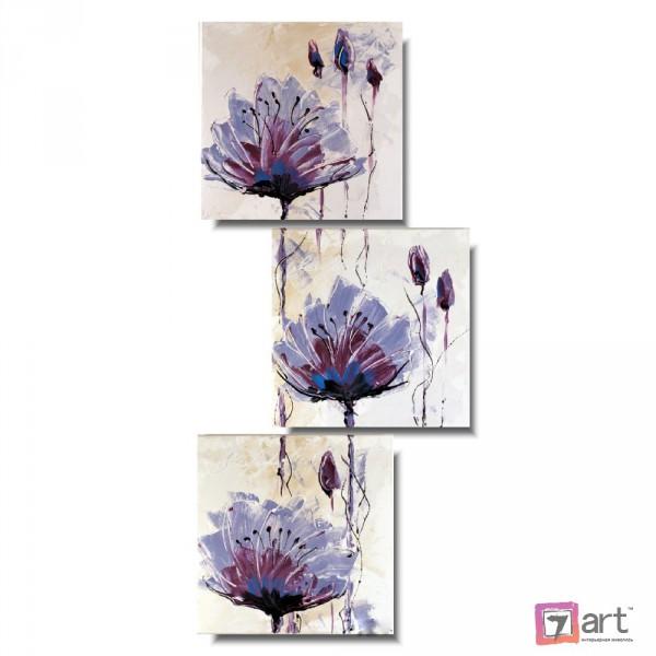 Модульные картины цветы, триптих, ART: fosm_0167