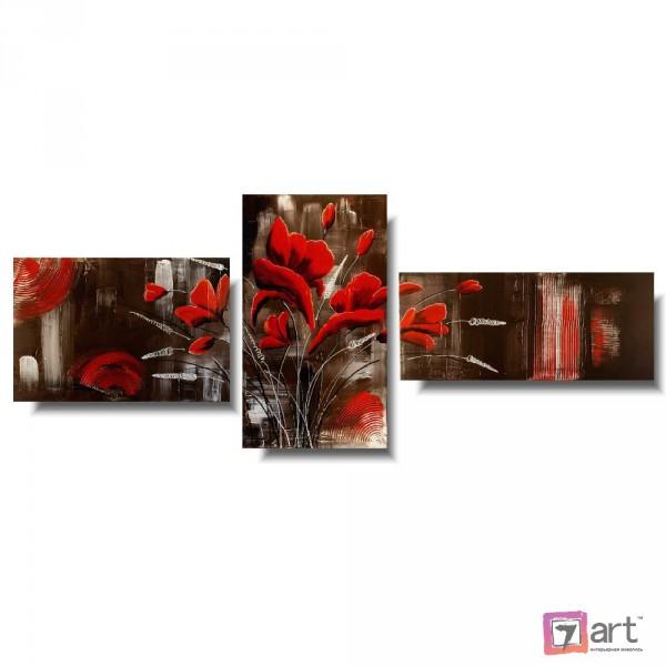 Модульные картины цветы, триптих, ART: fosm_0174
