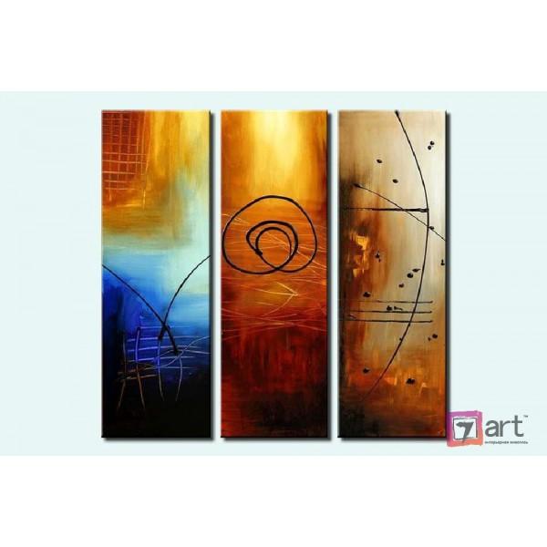Модульные картины абстракция - триптих, ART: absm_0070