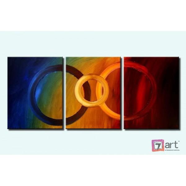 Модульные картины абстракция - триптих, ART: absm_0071