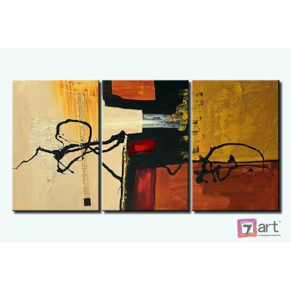 Модульные картины абстракция - триптих, ART: absm_0089